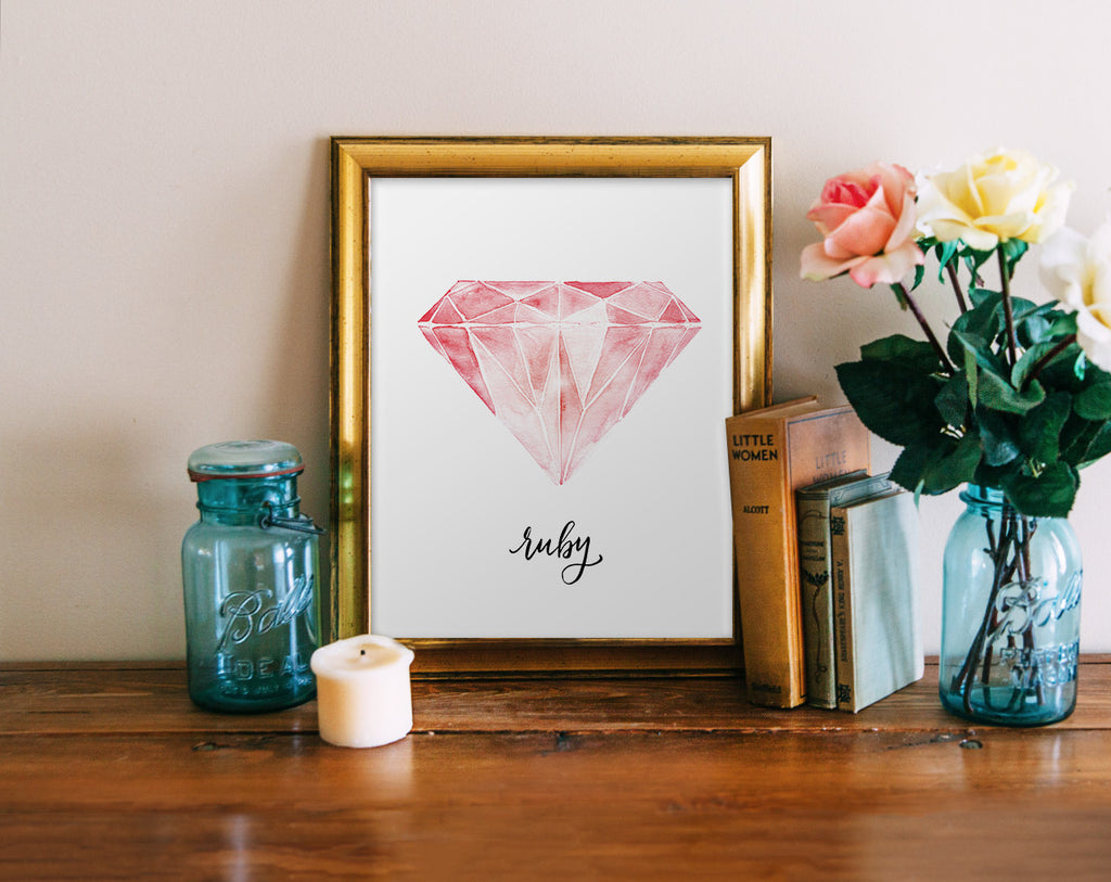 Ruby, Watercolor Jewel