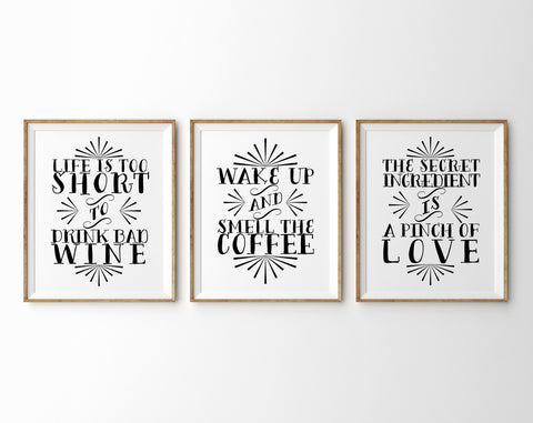 Kitchen Typography, Set of Three