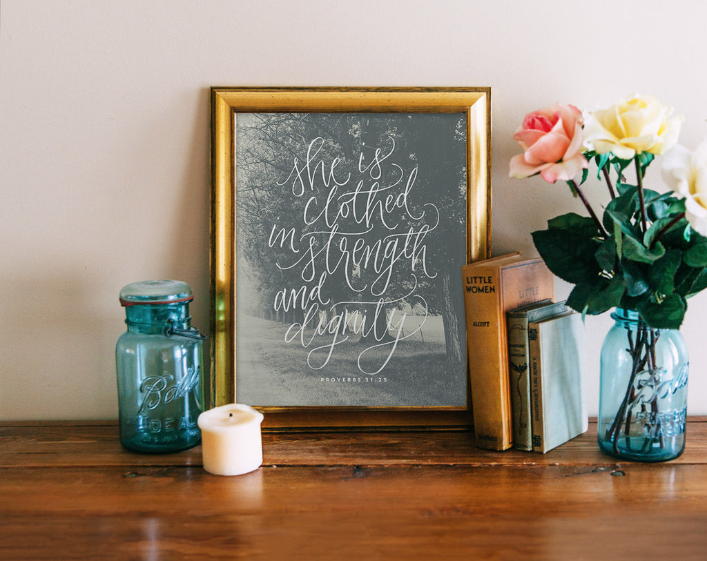 Proverbs 31:25 Calligraphy, Photograph