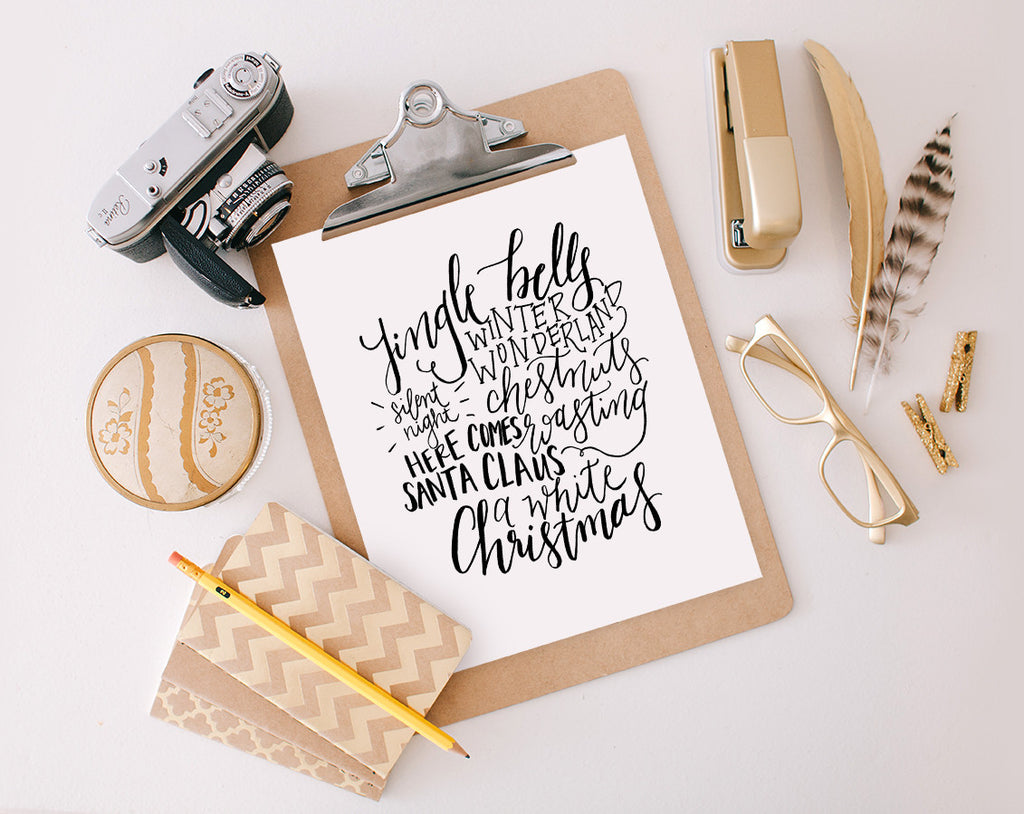 Hand Lettered Christmas Cloud, Printable