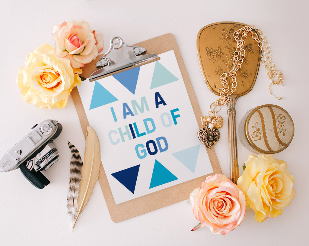 I am a child of God, Blue Printable