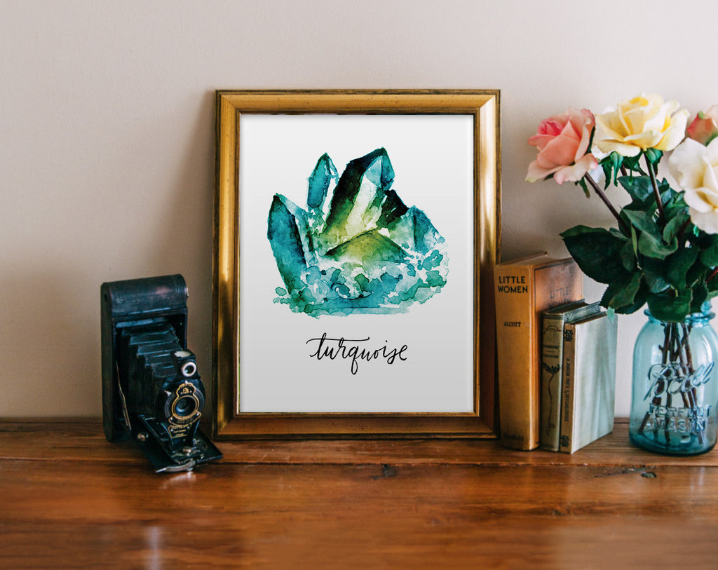 Turquoise, Watercolor Jewel