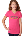 Short Sleeve T-Shirt Youth V-Neck - Hot Pink