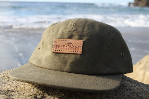 Army Green Waxed Cotton 5-Panel Hat