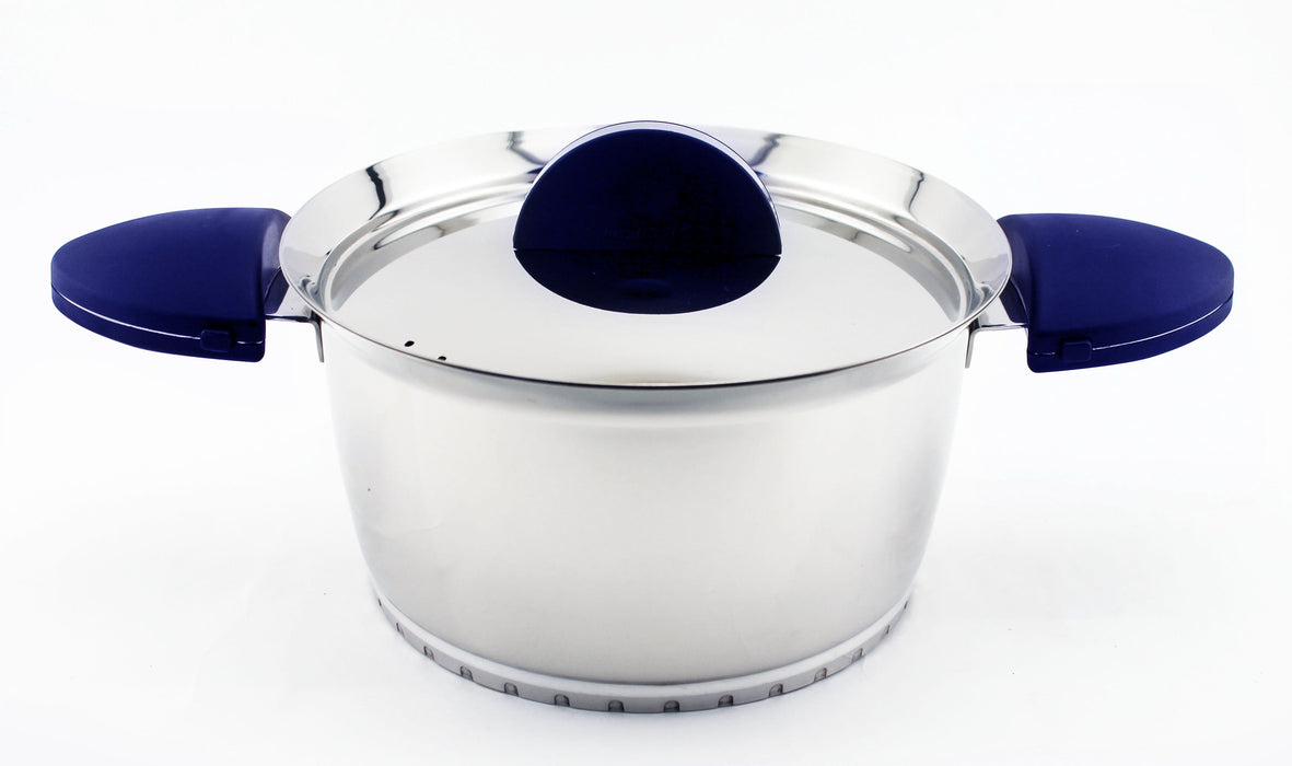 "Stacca 7"" Stainless Steel Covered Casserole,  Blue"