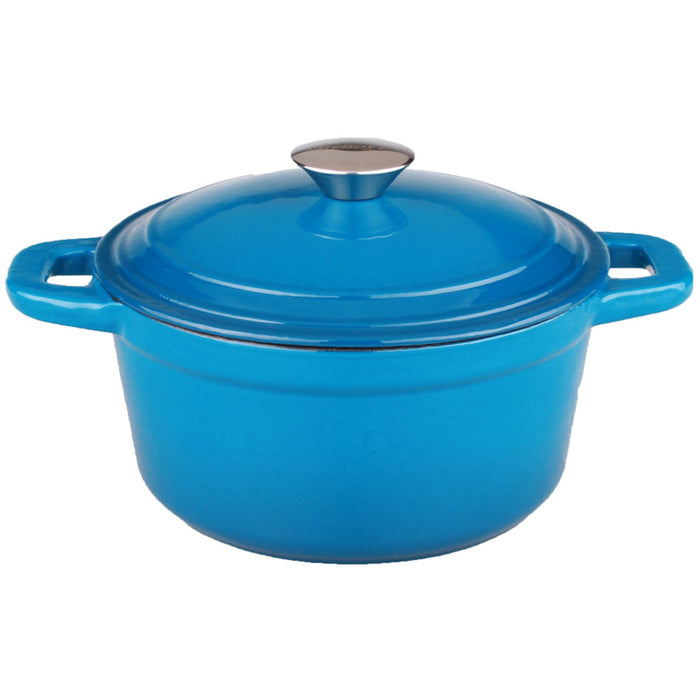 Neo 7Qt Cast Iron Round Covered Casserole, Blue