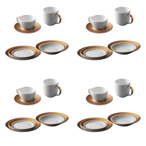 BergHOFF GEM Dinnerware 24Pc Place Setting, White & Gold