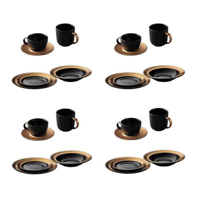 BergHOFF GEM Dinnerware 24Pc Place Setting, Black & Gold