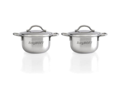 "BergHOFF 2.5"" 18/10 Stainless Steel Covered Mini Pots, Set of 2"