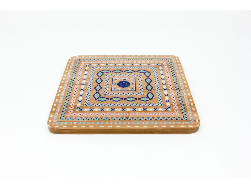 BergHOFF Bamboo Multi-Colored Trivet, Set of 4