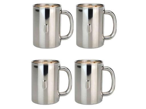BergHOFF Straight 18/10 Stainless Steel Coffee Mugs, Set of 4
