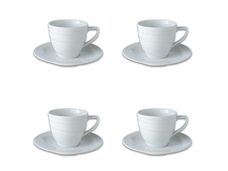BergHOFF Essentials 8.6oz Porcelain Teacup & Saucers, Set of 4