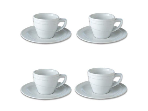 BergHOFF Essentials 3.5oz Porcelain Espresso Cup & Saucers, Set of 4