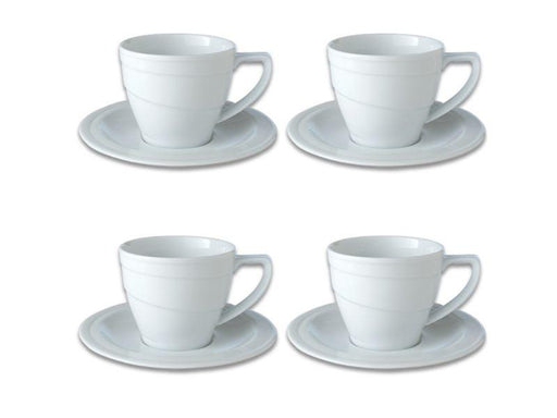 BergHOFF Essentials 12oz Porcelain Breakfast Cup & Saucers, Set of 4