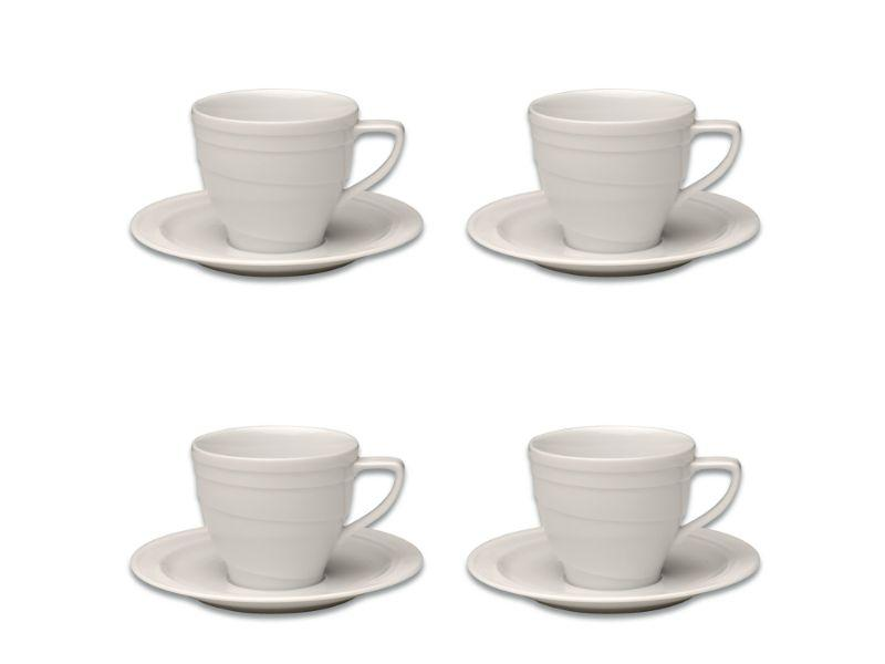 BergHOFF Essentials 4oz Porcelain Cup & Saucers, Set of 4