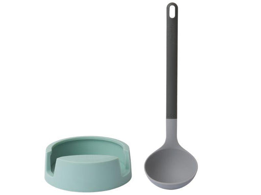 Leo 2pc Ladle & Holder Set, Gray & Mint