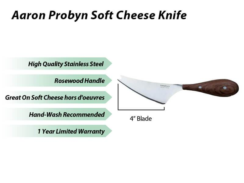 "Aaron Probyn 9"" Stainless Steel Provence Soft Cheese Knife with Wood Handle"