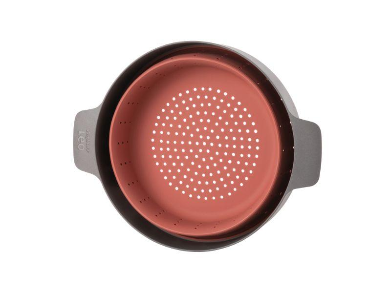 "BergHOFF Leo 10"" Silicone 2-in-1 Steamer and Strainer, Pink & Grey"