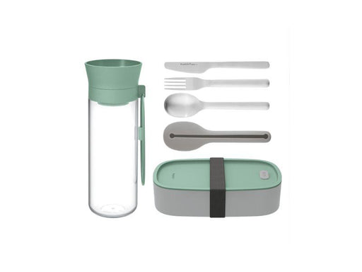 BergHOFF Leo Lunch Set, Water Bottle Flatware and Bento Box, Green