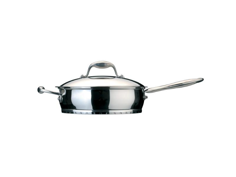 "Zeno 9.5"" Stainless Steel Covered Deep Skillet 2.6Qt"
