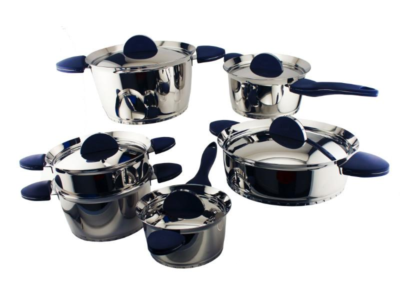 Stacca SS 11 Pieces Cookware Set, Blue