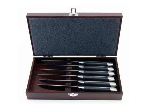 Geminis 7Pc Steak Knife Set with Wooden Case