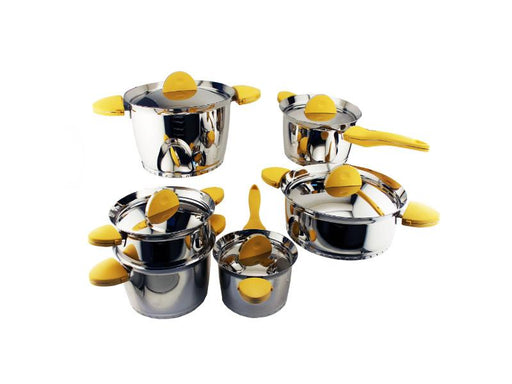 Stacca SS 11 Pieces Cookware Set, Yellow