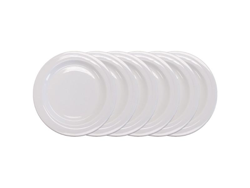 "Elan 8.5"" Porcelain Wide Rim Salad Plate, Set of 6"
