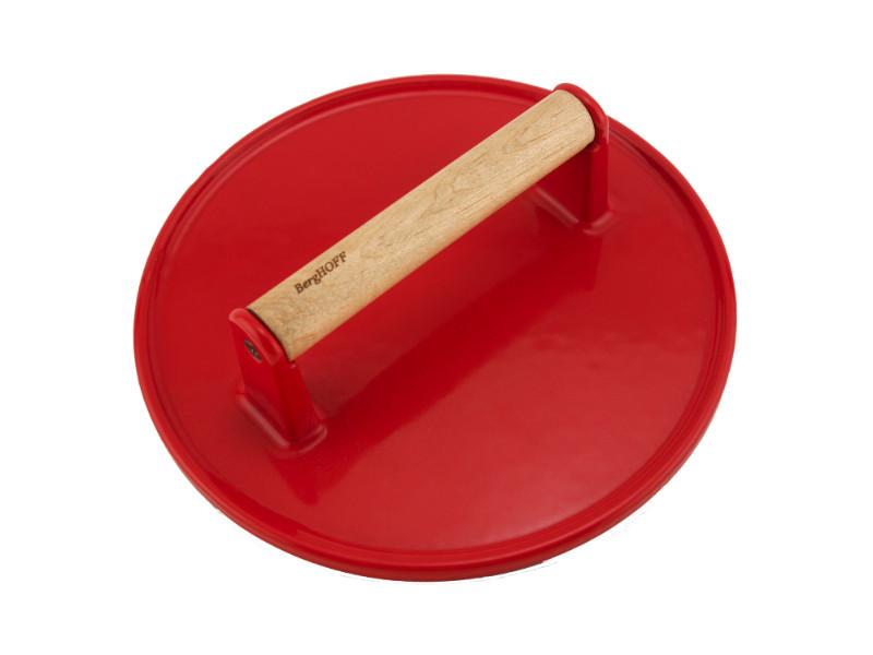 "9"" Cast Iron Steak Press, Red"
