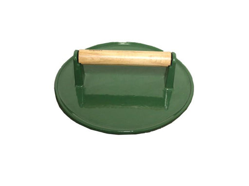 "9"" Cast Iron Steak Press, Green"