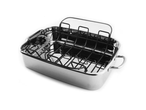 "15"" Stainless Steel Roaster Pan with Rack"
