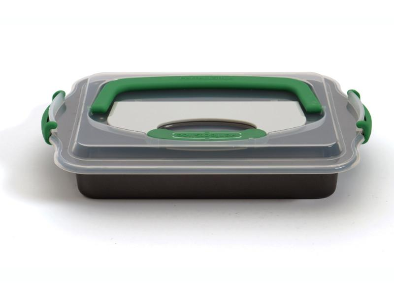 "Perfect Slice 13"" Covered Cake Pan with Slicing Tool"