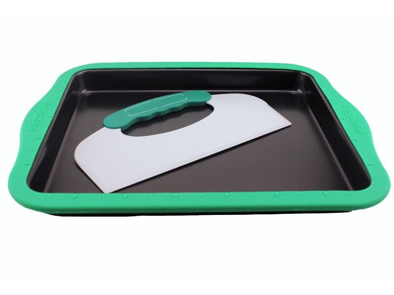 "Perfect Slice 14"" Cookie Sheet Big with Silicone Sleeve and Slicing Tool"