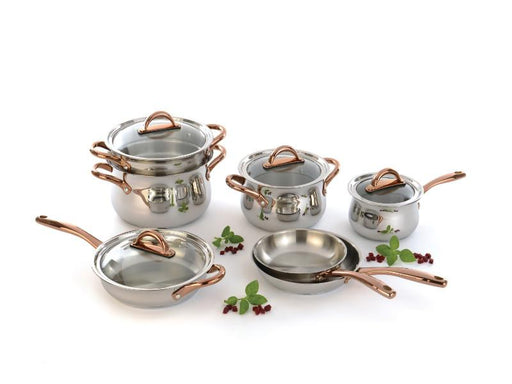 Ouro Gold 11Pc Stainless Steel Cookware Set, Glass Lids