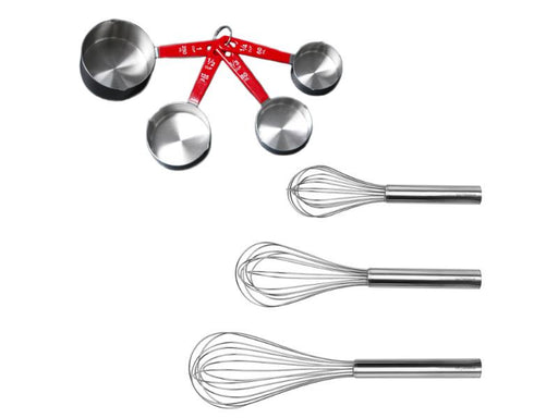 7Pc Stainless Steel Bake Set: 3Pc Whisks & 4Pc Measuring Cup Set