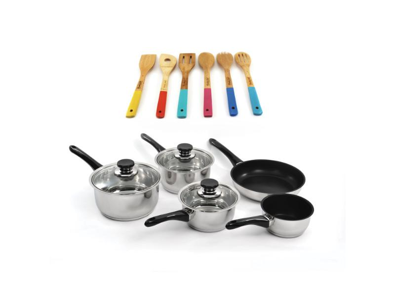 Vision 14Pc Stainless Steel Cookware Set: 8Pc Cookware Set & 6Pc Tool set