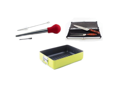 "Eclipse 6Pc Roasting Set: 13.75"" Roasting Pan, Pakka 12"" Carving Knife and Fork, & Basting and Injector Set"