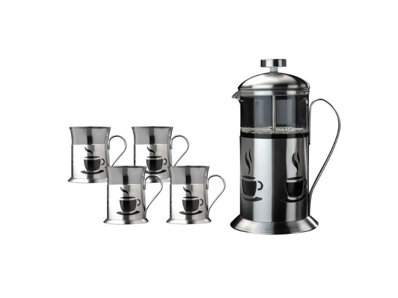 5Pc Stainless Steel French Press and Cup Set