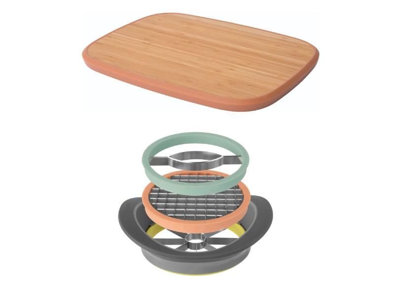"Leo All-in-One Slicer with 14.5"" Bamboo Cutting Board"