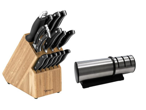 Essentials 15Pc Cutlery Set and Block Set with Sharpener