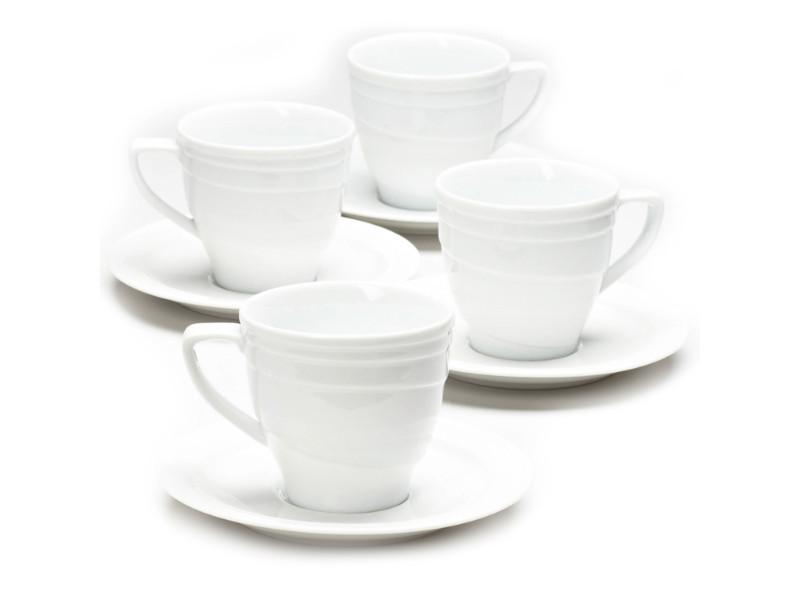 Elan 8.6oz Porcelain Tea Cup and Saucer, Set of 4