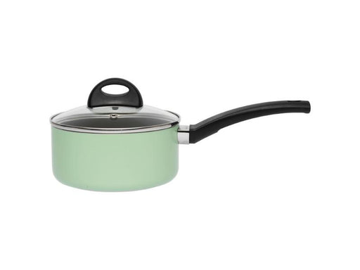 "Eclipse 6.25"" Non-Stick Covered Sauce Pan 1.6Qt, Green"