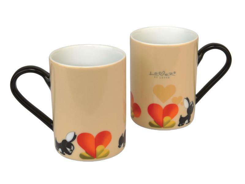 Lover by Lover 10oz Coffee Mug, Set of 2, Beige