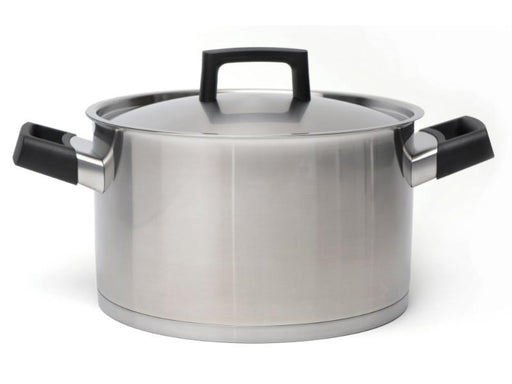 "Ron 10"" Stainless Steel Covered Stockpot 6.8Qt, Black Handles"