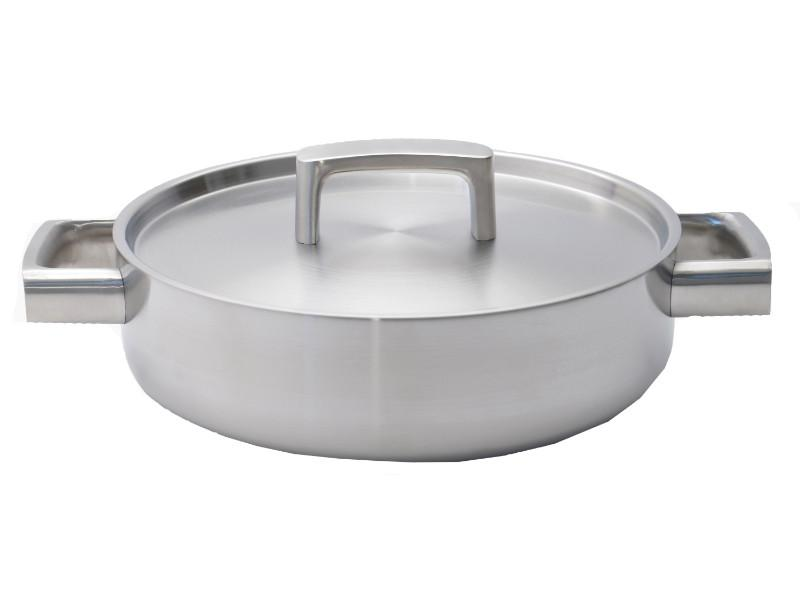 "Ron 10"" Stainless Steel 5-Ply Covered Deep Skillet"