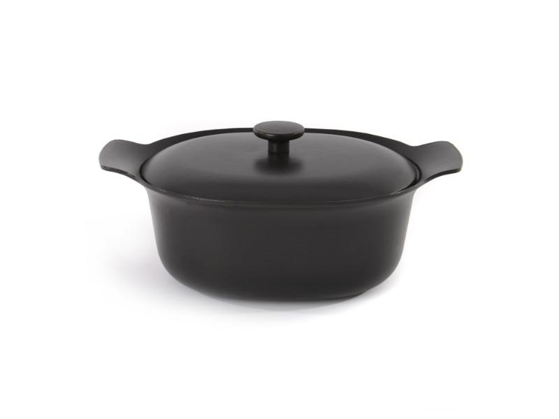 "Ron 11"" Cast Iron Covered Casserole 5.5Qt, Black"