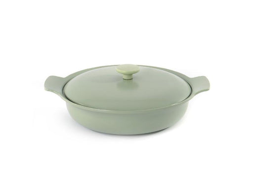 "Ron 7"" Cast Iron Covered Deep Skillet 3.5Qt, Green"