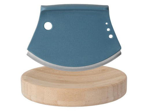 "Leo 2Pc 6.25"" Bamboo Herb Cutter Set, Blue"