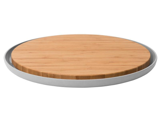 "Leo 14.25"" Bamboo Cutting Board with Plate, Gray"