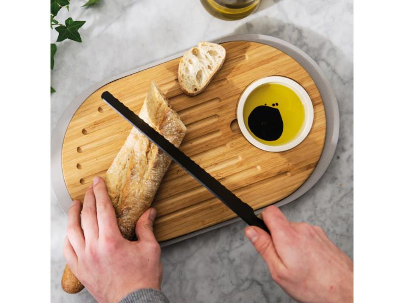 "Leo 15.25"" 2-sided Tapas Cutting Board with Tray, Gray"